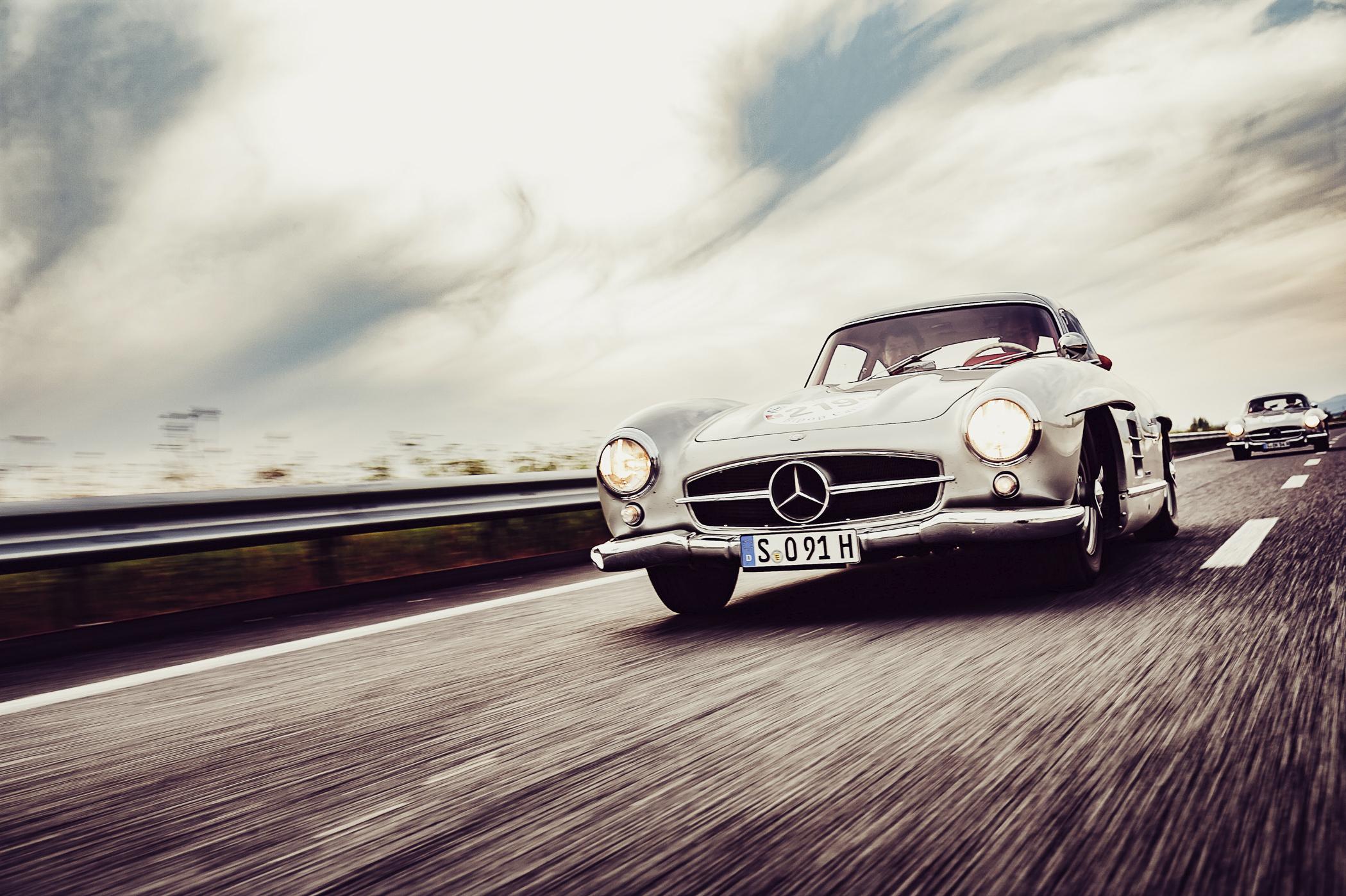 Mille Miglia, Florian Kresse, Rennfahrer, Italien, Mercedes-Benz, Flügeltürer, Mercedes-Benz 300SL, Fiat, Ferrari, Autofotografie, vintage car, Oldtimer